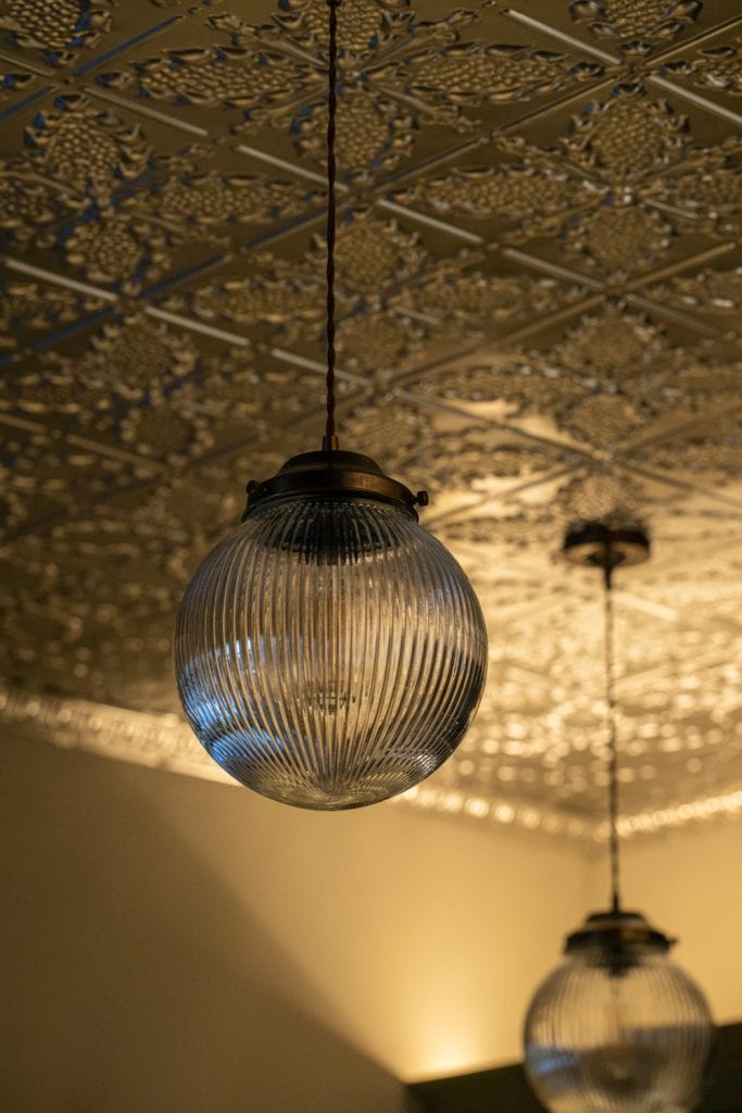 Tin ceiling design with lighting | Beth Barker Designs
